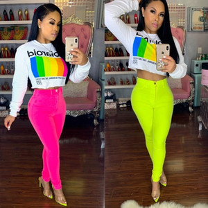 Wholesale Fluorescent Color Sexy Pencil Pant High Waist Body con Trousers Women Button Up Fake Zipper Hot Sale Pants