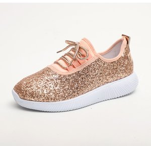 Wholesale Women Sneakers New Summer Glitter Bling Gold Silver Shoes Woman Plus Size White Sneakers Sparkly Casual Shoes Flats Women