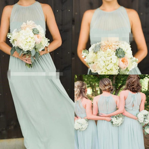 2019 Modest Sage Chiffon Halter Bridesmaid Dresses A Line Floor Length Maid Of Honor Wedding Guest Gown For Country Wedding Wear Custom Made on Sale