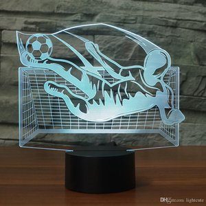 Wholesale LED Lamp Xmas Gift D Flying Kick Soccer Table Lamp Colors Changing Visual Acrylic NightLight LED USB Football Light Fixture Kids Gift