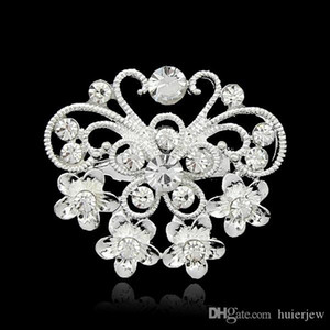 Wholesale Christmas Brooches Beautifully Jewelry Mix Design Silver Planted Clear Rhinestone Crystal Small size Flower Bouquet Wedding Pin Brooches