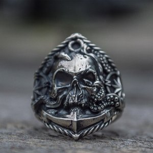 Wholesale cAnchor Seaman Stainless Steel Ring Unique Compass Octopus Tentacle Skull Biker Rings Punk Sailor Jewelry