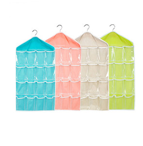 Wholesale Pockets Hanging Bag fold Clear Over Door Shoes Rack Hanger Storage Tidy Organizer Home tranaparent closet storage pouch cm YSY249