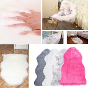 Wholesale Long Hair Solid Mat Seat Pad Home Decor Luxury Rectangle Soft Sheepskin Fluffy Area Rug Faux White Fur Carpet Shaggy Living Room