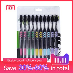 Wholesale 10pc Soft Bristle Bamboo Charcoal Toothbrush Natural Nano Protector Tooth Brush Travel Eco friendly Brush Tooth Environment C18112601