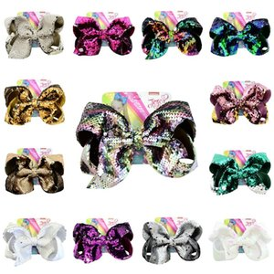 Wholesale 8 inch Glitter Mermaid Hairpin Sequin Hair Bow Mermaid Barrettes Kids Gradient Bling Hair Clip Hair Accessories