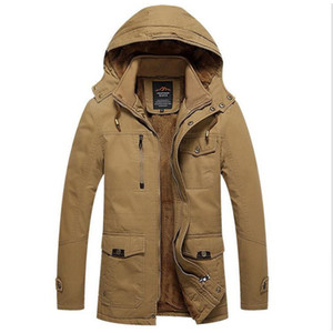 Wholesale Winter Jacket Men Casual Thick Velvet Warm Coat Mens Windbreak Snow Army Jackets Outwear Parkas Plus Size xl Coats