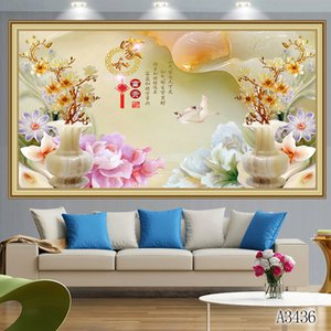 Wholesale 5D Diy diamond painting cross stitch kit full round square diamond embroidery flower rose orchid jade home mosaic decor gift toy A3436
