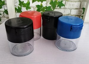 Wholesale oz containers for sale - Group buy smell proof bottle dry herb container ml oz plastic black airtight sealed vacuum jar clear with black red blue cap food storage