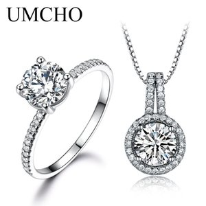 Wholesale UMCHO Solid Sterling Silver Jewelry Zircon Ring Pendants Necklaces For Women Wedding Jewelry Set Engagement Wedding Gift