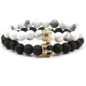 Wholesale NEW Black White Stone Beads with Gold Silver Color Crown charm Bracelet For Women Men Bangles Jewelry pulsera DropShipping