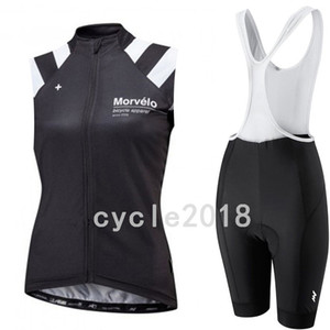 Wholesale 2019 Morvelo team custom made Cycling Sleeveless jersey Vest bib shorts sets Female summer windproof comfortable sports Jersey suit