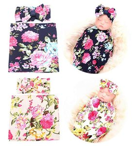 Wholesale Kids Designer Clothes Newborn Floral Receiving Blankets Baby Swaddling with Headbands Floral Girls Boys Baby Photo Prop Blankets Styles