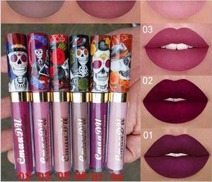 makeup wholesale New hot style CmaaDu 6 matte metallic pearlescent skull single lip gloss