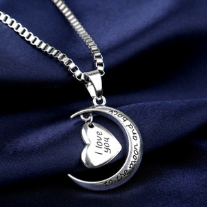 High Quality Heart Jewelry I love you to the Moon and Back Mom Pendant Necklace Mother Day Gift Wholesale Fashion Jewelry