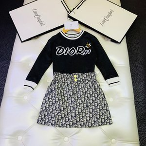 Wholesale Two Piece Outfits Suit Korean Girls Skirt kids Girl Athletic Wear Twinset Baby Kids Clothing Set Short Sleeve Clothes Kid_show