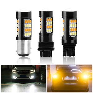 Wholesale 2ps BAY15D T25 T20 Led Bulb Dual Color White Amber Day Running light Car LED Turn Signal Light smd V