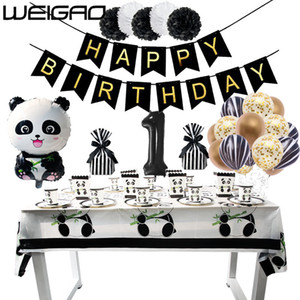Wholesale WEIGAO Birthday Panda Party Disposable Set Tableware Paper Plate Paper Napkins Glands Baby Shower Birthday Party Decorations Kid