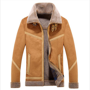 Wholesale Winter Men's Leather Jacket Lamb Fur One-piece Lapel Leather Coat Men's Designer Locomotive Suede Jacket M-4XL