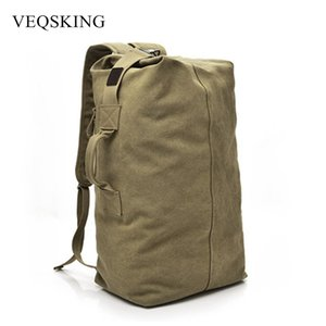 VEQSKING Large Capacity Travel Climbing Bag Tactical Backpack Women Army Bags Canvas Bucket Bag Shoulder Sports