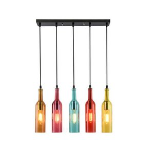 Wholesale bar lights wine glasses for sale - Group buy Vintage LED chandelier Lamp E27 Red Wine Bottle Glass Pendant Light Restaurant Cafe Bar Hotel Wine Bottle Hanging Lamps LLFA