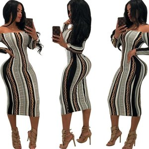 Wholesale Womens Dress Nice Spring New Vogue Printed Long Sleeve Clothing Sexy Nightclub Style