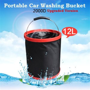 Wholesale 12L Car Bucket Outdoors Camping Fishing Portable Folding Bucket Car Wash Storage Box Oxford Cloth PP Waterproof