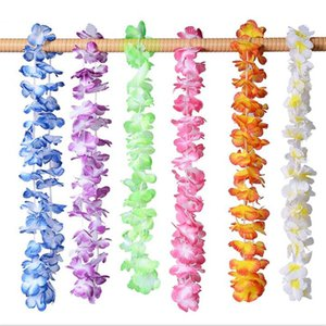 Wholesale 36Pcs Pack Hawaiian Party Artificial Flowers leis Garland Necklace Hawaii Beach Flowers Luau Summer Tropical Party Decoration T191104