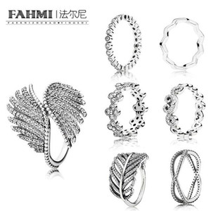 Wholesale FAHMI Sterling Silver Majestic Feathers Ring TIMELESS RING HEART SWIRLS RINGS ALLURING SMALL BRILLIANT CUT RING Wedding Rings