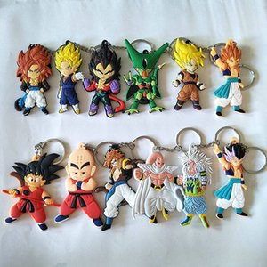 Anime Dragon Ball Z Keychain Son Goku Super Saiyan Silicone PVC Key Rings Action Figure DBZ Pendant Keyrings Collection Toy