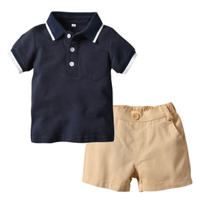 Wholesale 0 years baby boys handsome outfits white navy color polo shirt shorts set formal suit for children boy kids summer clothing set