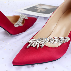 Hot Sale Crystals Stiletto Heel Silk Wedding Shoes For Bride Designer Women Heels Poined Toe Rhinestones Lady Pump