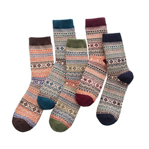 Wholesale 5 Pair New Winter Men s Wool Socks Thick Warm Stripes Plaid Casual Comfortable High Quality Fashion Happy Socks