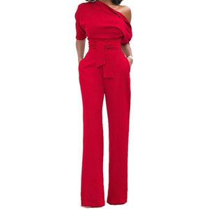 Wholesale Women s Retro Sexy Jumpsuits Rompers Plain Suits Club Wear with Pure Color Sloping off Shoulder