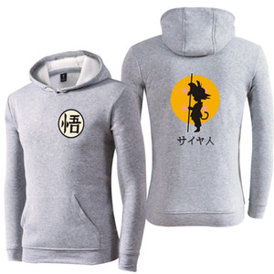 Wholesale Dragon Ball Z Mens Designer Thick Hoodies Master Roshi Goku D Printed Mens Sweatshirts Long Sleeve O Neck Male Apparel