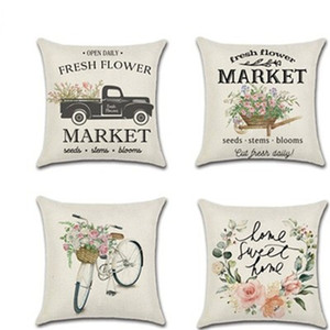 Wholesale decorate pillow covers resale online - Flower Bicycle Pillowcase Truck Farm Digital Printing Pillow Cover Spring Style Cushion Sleeve Simple Design Home Decorate kha H1