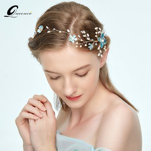 Wholesale accessories bridal Queenco Blue Flower Headbands Crystal Wedding Accessories Bridal Headpiece Bridesmaid Hair Jewelry Women Ornaments
