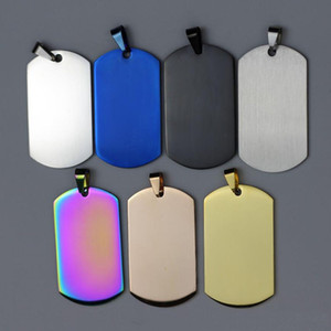 100pcs lot Stainless Steel Army Dog Tags with Mirror Polished Surface Black Blue Gold Rose-gold Colors