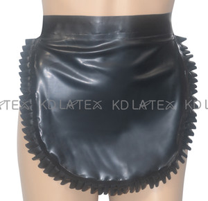 Wholesale latex sex uniform resale online - Black Sexy Latex Apron With Ruffles And Lacing At Back Rubber Apron Plus Size New Hotsales SEX