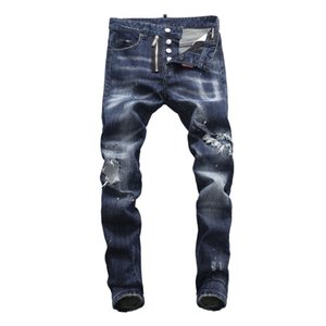 Wholesale Men s jeans pants trousers Sturdy Ripped Hole Fashion denim New Promotion Slim fit Fresh Fake Zipper Fly