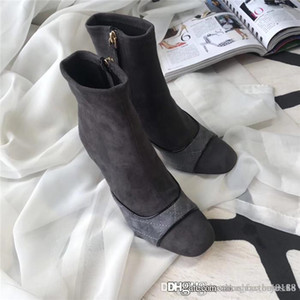 Wholesale Womens High Heel Leather Boots Womens Leather Ankle Boot Sock Booties with cm Heel Color Grey Black Nude Size