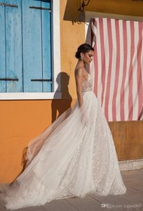 Wholesale 2019 New Sexy Beach Wedding Dresses Side Split Spaghetti Illusion Sexy Boho Wedding Gowns Sweep Train Pearls Backless Bohemian Bride