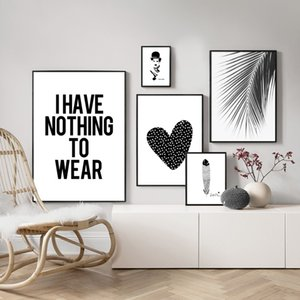 Wholesale Canvas Painting Home Decor Nordic Black White Heart Palm Leaf Feather Pictures Prints Wall Art Poster For Living Room Modular