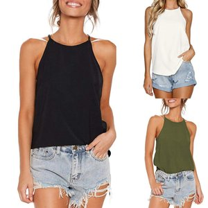 Women Camisole Women Solid Sexy Round Neck Loose Backless Sling Crop Camis Straps Tank Top Blouse Fashion Cny1523 on Sale