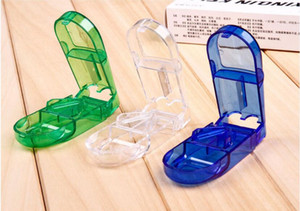 Wholesale plastic Pill Cutter Splitter Half Storage Compartment Box Medicine Tablet Holder Safe colors