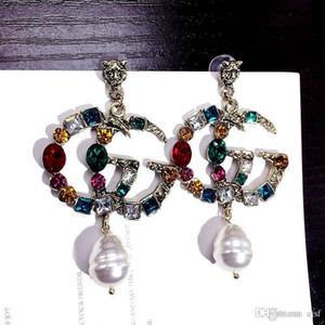 Wholesale High Quality Fashion Earrings Pearl Rhinestone Letter Designer Earrings Luxury Earrings for Women Jewelry