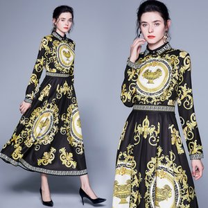 Autumn Dress with Black European Palace Vintage Baroque Print High Waist Long Sleeve Women Dresses for Elegant Party Engagement Dinner