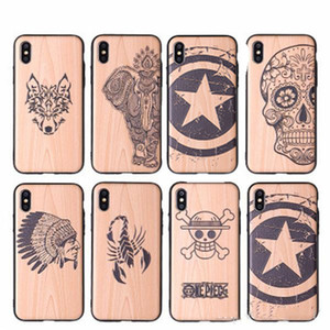 Wholesale Wood Pattern Hybrid TPU PC Wooden Carved Pattern Print Mobile Phone Case Slim Cover For iPhone Xs Max XR X plus plus With OPP Bag
