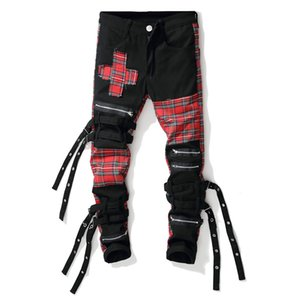 Wholesale Men s Streetwear Personality Black Red Plaid Patchwork Cross Slim Straight Jeans Trendy Multi Fake Zippers Bandage Denim Pants