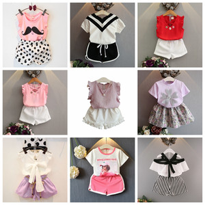 Summer Kids Outfits 2pcs Baby Girls Clothing Sets T-shirt tops+Skirts shorts pants Tutu Princess Kids girl Clothes Suit watermelon chiffon